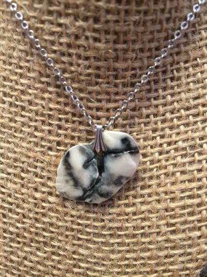 Beautiful Black & White Spotted Shell Pendant